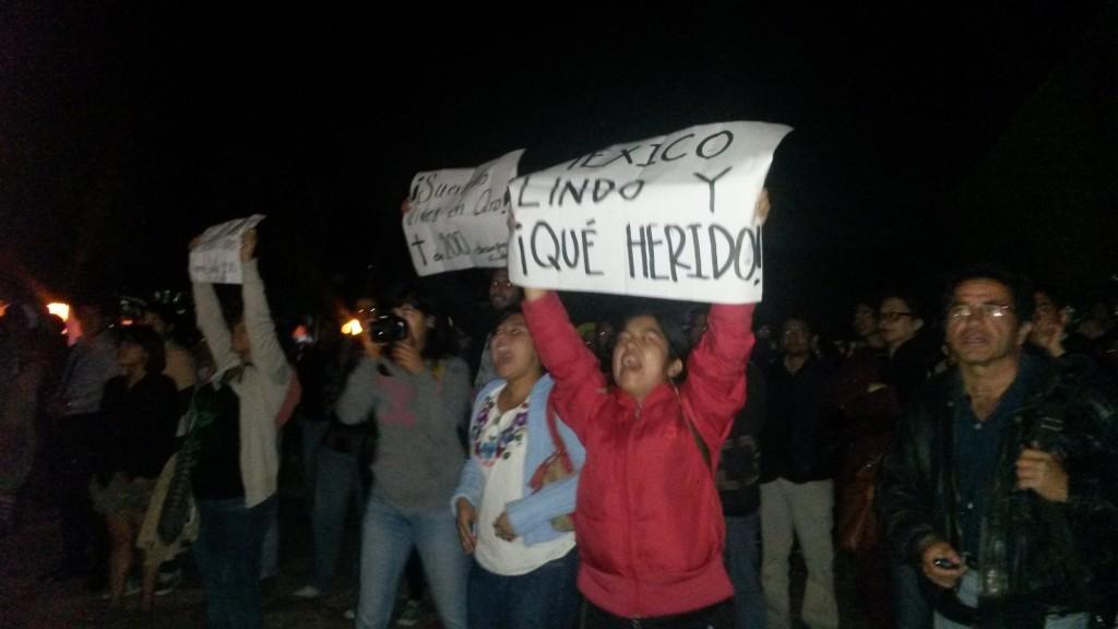 Se manifiestan por ayotzinapa en encendido de rbol for Jardin guerrero queretaro