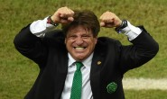 Mexico's coach Miguel Herrera celebrates after a Group A football match between Croatia and Mexico at the Pernambuco Arena in Recife during the 2014 FIFA World Cup on June 23, 2014.  AFP PHOTO / JAVIER SORIANO        (Photo credit should read JAVIER SORIANO/AFP/Getty Images)