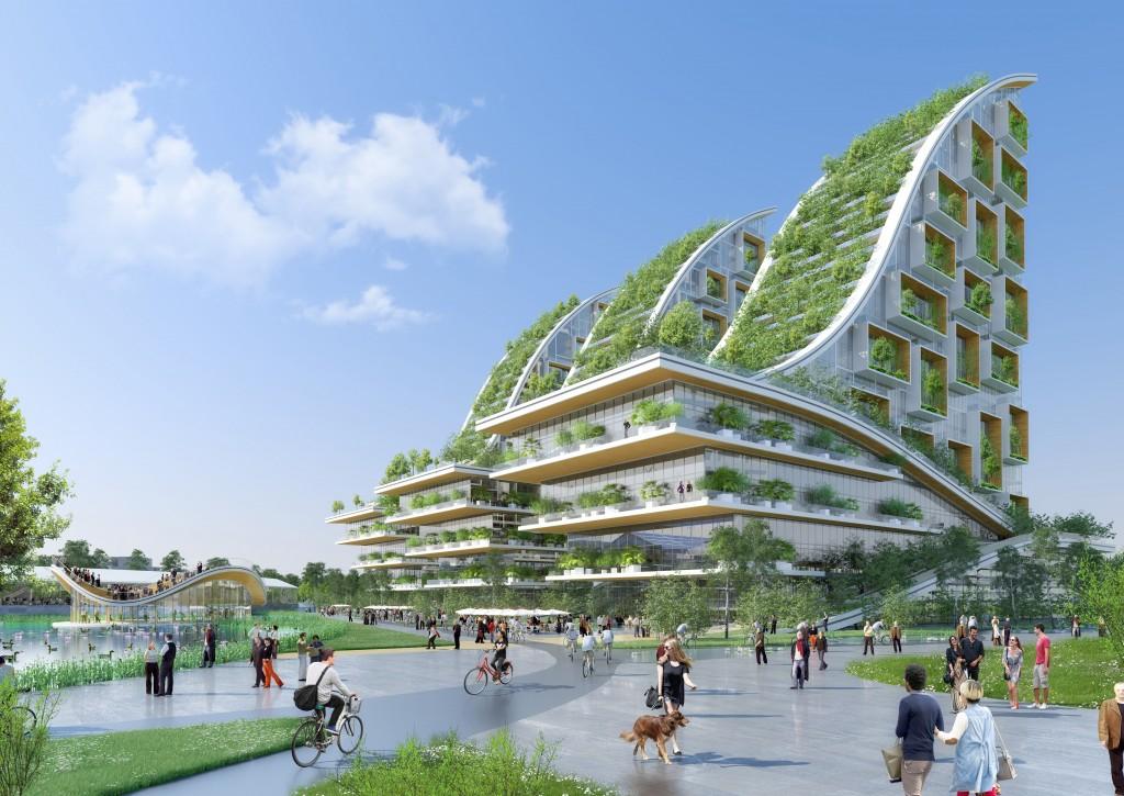 Así quedarán los edificios con jardines verticales y huertos urbanos del nuevo proyecto para un viejo barrio de Bruselas.