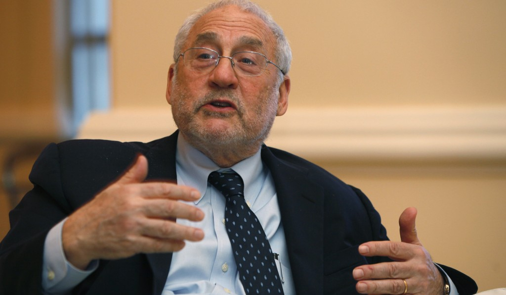 Nobel Laureate in economics and former World Bank chief Stiglitz speaks to media after his lecture