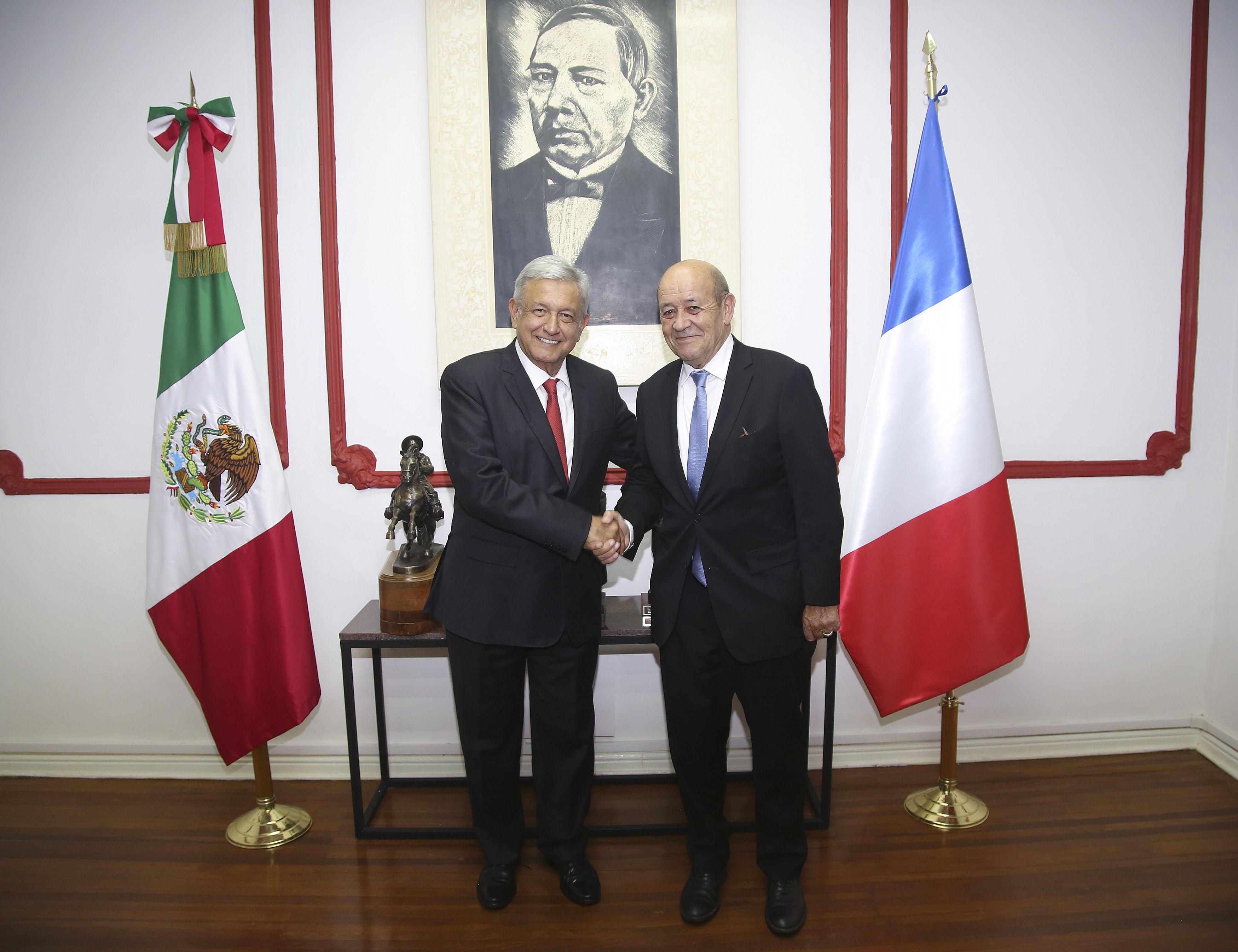 López Obrador y canciller francés buscan estrechar lazos en comercio y clima