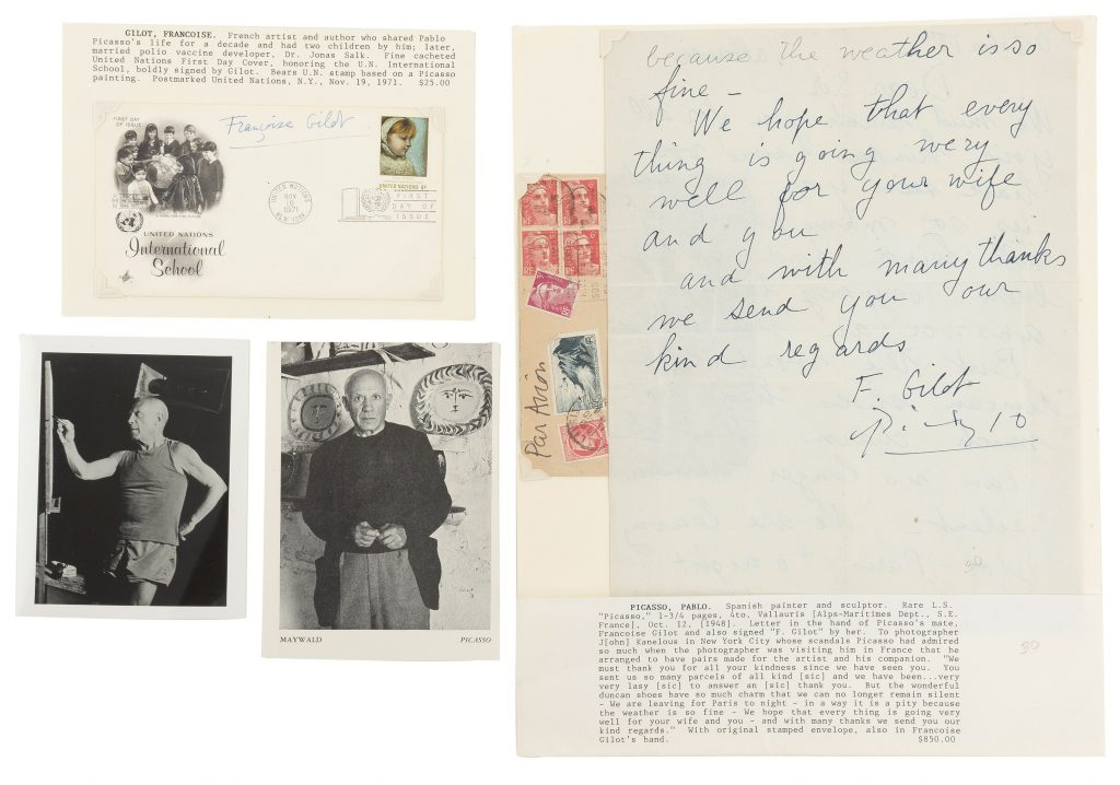 Una carta firmada por Picasso y Francoise Gilot sale a subasta en México