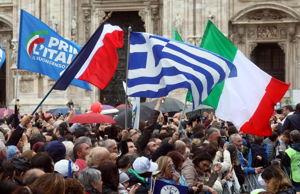 Election campaign rally of the Lega party in Milan