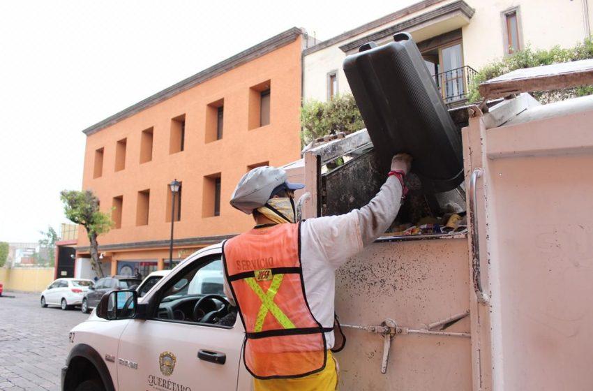 Recolección de basura continúa de manera habitual en todo el Municipio de Querétaro