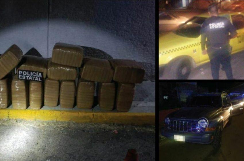Van en busca de taxi robado y terminan detienendo a sujeto con 17 paquetes de droga