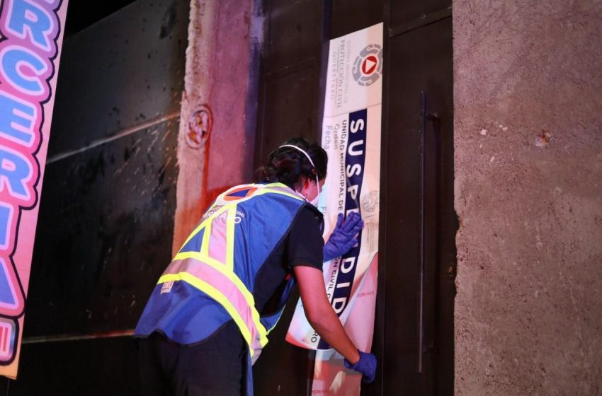 Suspenden cuatro establecimientos en Querétaro por no cumplir medidas por COVID-19