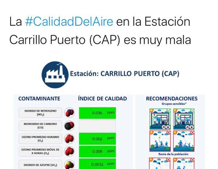 Vuelve la mala calidad del aire a Carrillo