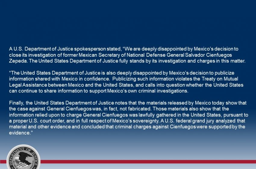 EEUU profundamente decepcionado de México por caso Cienfuegos