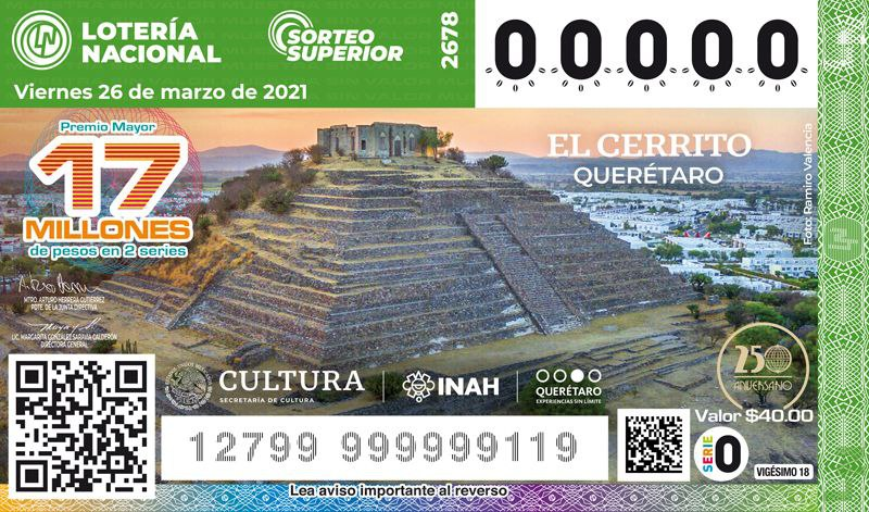 Lotería Nacional lanzará billetes con la imagen de la Pirámide de El Cerrito