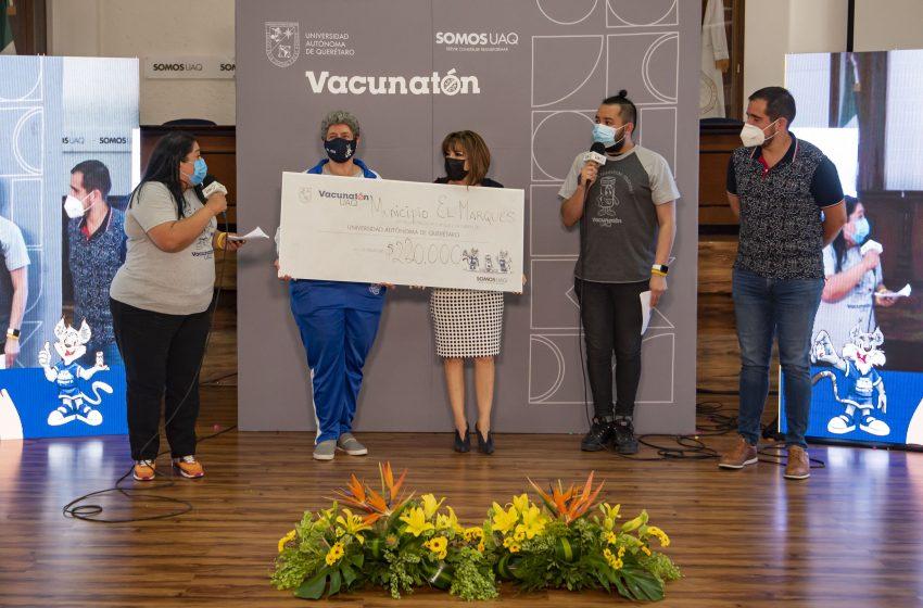 El Marqués también dona al Vacunatón; entregó 220 mil pesos a la UAQ