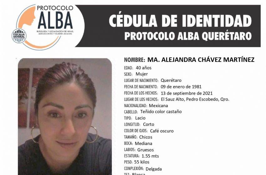 Fiscalía activa protocolo Alba para localizar a ama de casa desaparecida