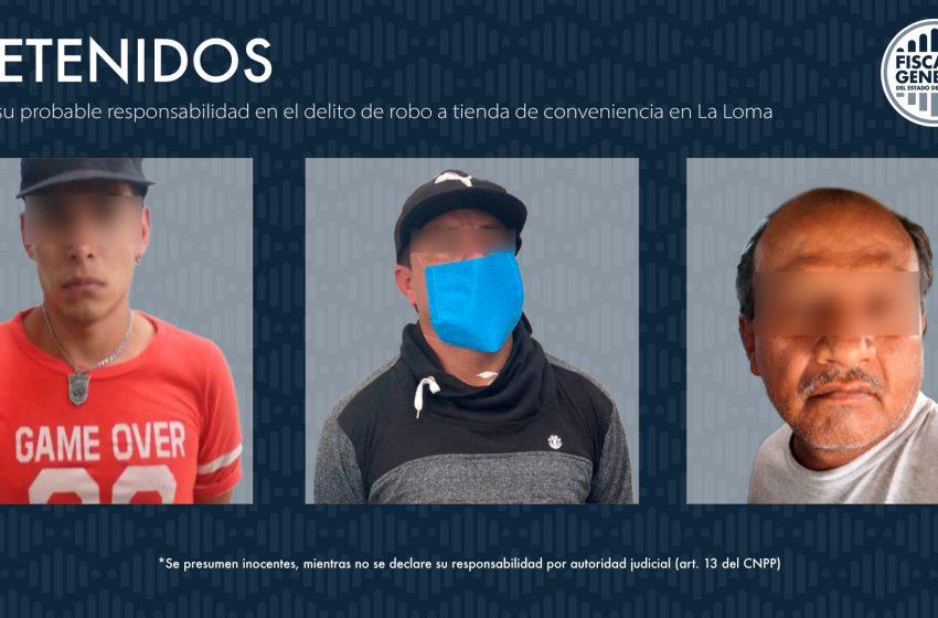Elementos de la Fiscalía detienen a tres personas por robo en la colonia La Loma