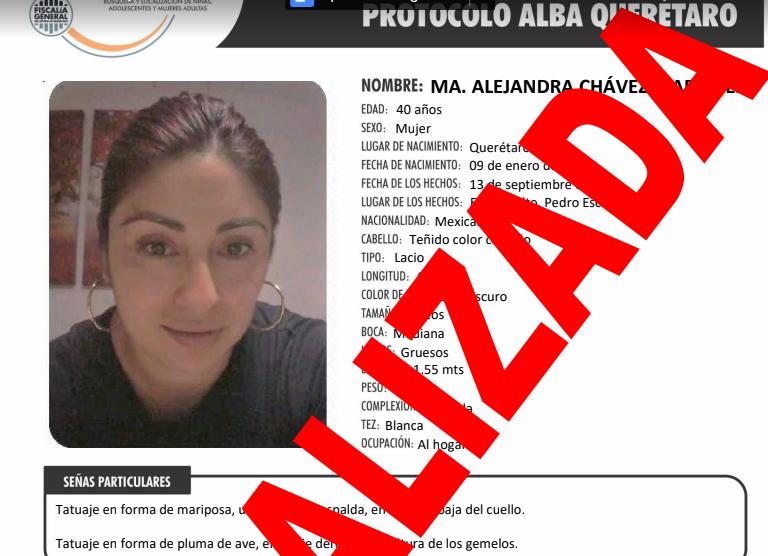 Aparece sana y salva mujer que desapareció en Pedro Escobedo