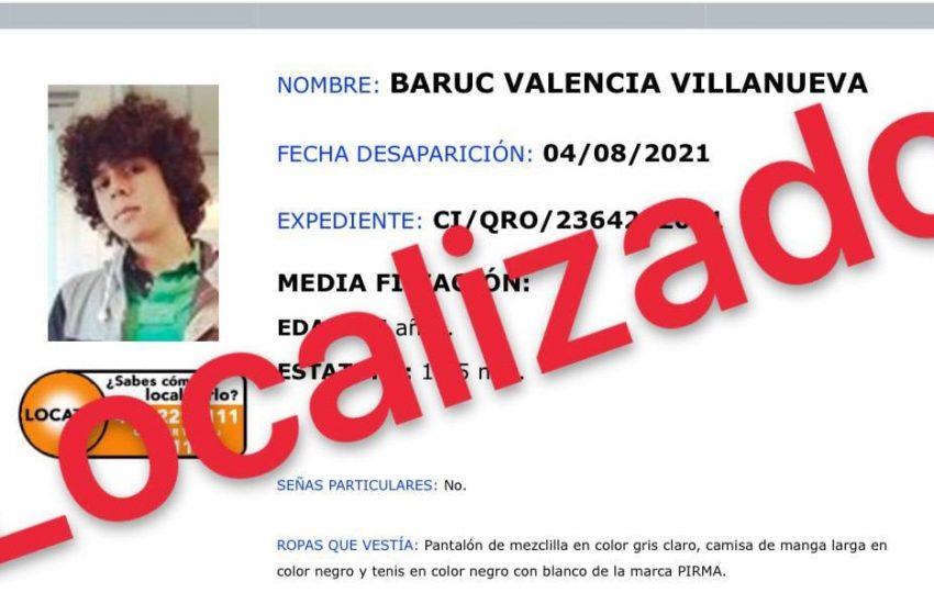 Fiscalía localiza a Baruc Valencia, adolescente reportado como desaparecido